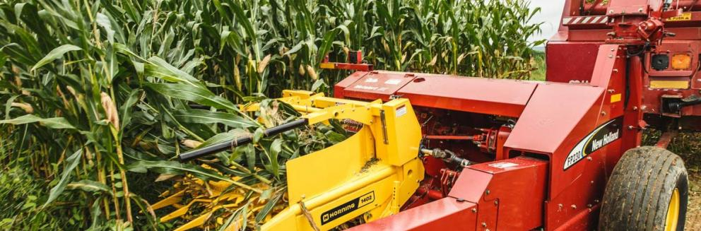 Closeup shot of Horning 2-row rotary corn head in action