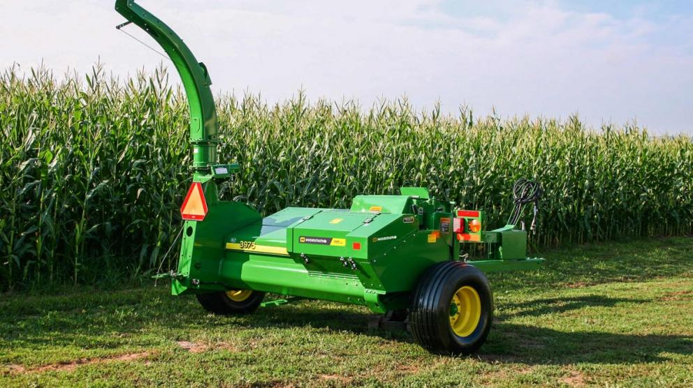 Horning kernel processor kit on green pull-behind harvester