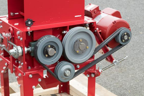 Roller mill belt drive system up close